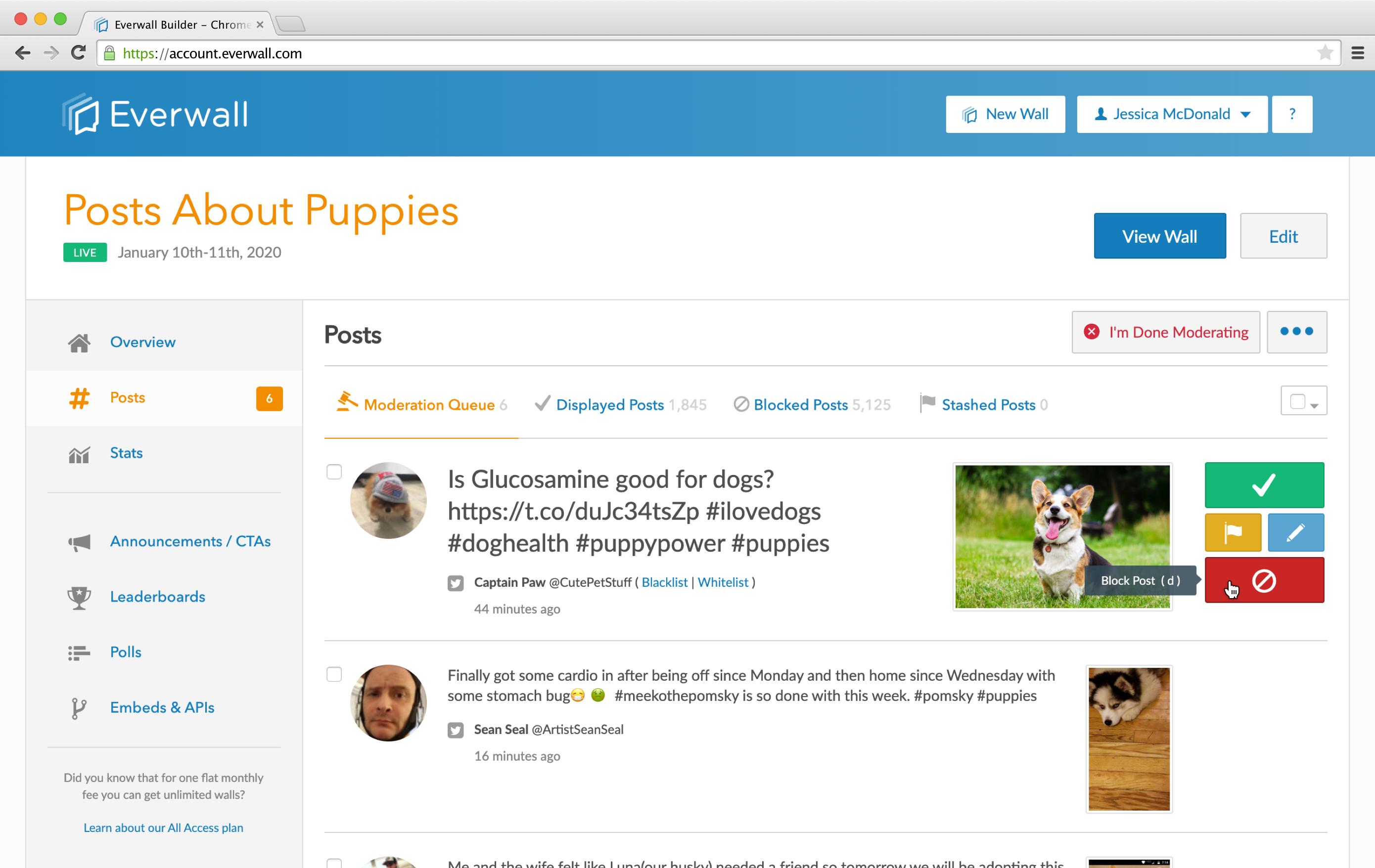 Social Media Hub Moderation Example