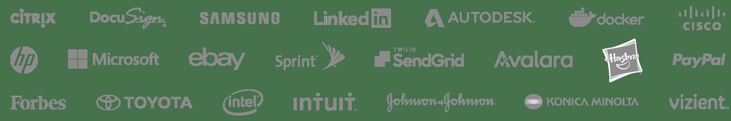 Logos for: Citrix, Docusign, Samsung, linkedIn, Autodesk, Docker, Cisco, HP, Microsoft, Ebay, Sprint, SendGrid, Avalara, Hasbro, PayPal, Forbes, Toyota, Intel, Intuit, Johnson & Johnson, Konica Minolta, and Vizient