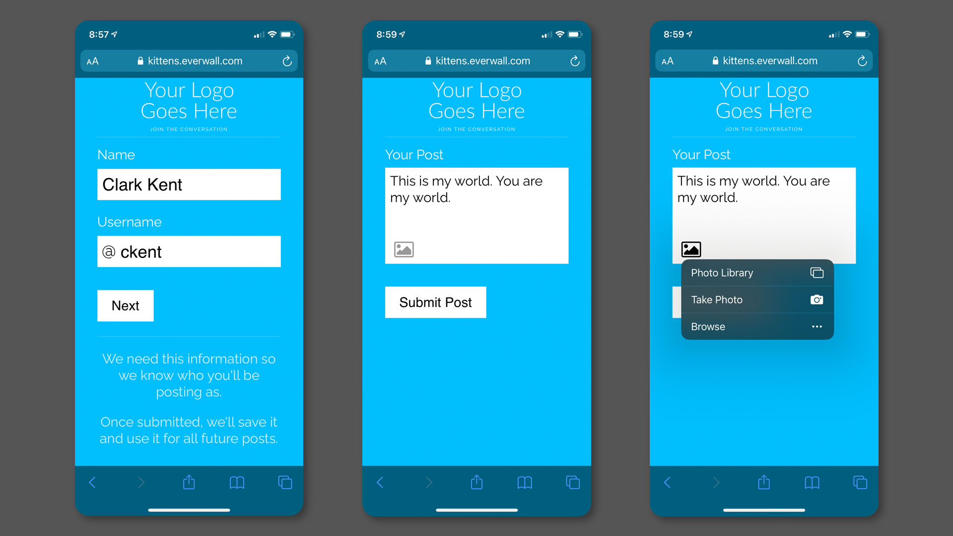 Multiple Screens showing Web Forms on an iPhone