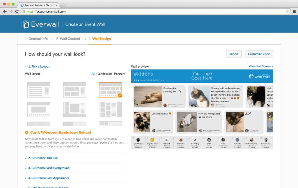 Social Wall Builder (Design Screen)